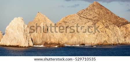 The panoramic view of Cabo San Lucas resort town famous rocks (Mexico).