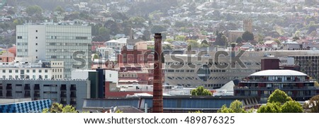 The panoramic view of Hobart downtown (Tasmania).