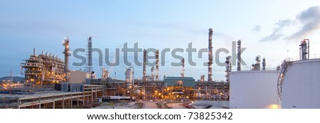 The panoramic view of the Propane plant in the morning - stock photo