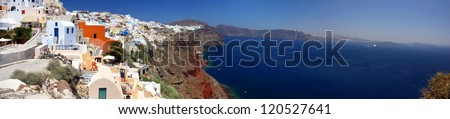 the panoramic view on Santorini, Greece - stock photo