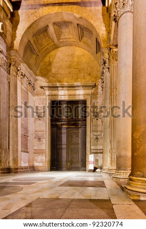 The Pantheon, a building which was commissioned by Marcus Agrippa as a temple to all the gods of Ancient Rome - stock photo
