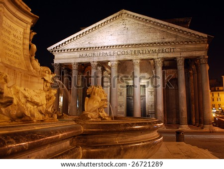 The Pantheon at Night with Fountain in Foreground - stock photo