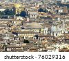 """The Pantheon (""""to every god"""") seen from the Saint Peter's Basilica. It's been commissioned by Marcus Agrippa as a temple to all the gods of Ancient Rome, and rebuilt by Emperor Hadrian in 126 AD. - stock photo"""