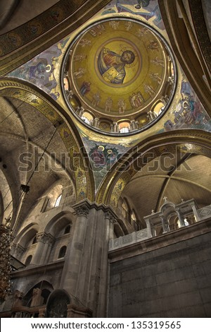 """The """"Pantokrator"""" mosaic in the basilica of the Holy Sepulchre. Church of the Holy Sepulchre, old city of Jerusalem, Israel. - stock photo"""