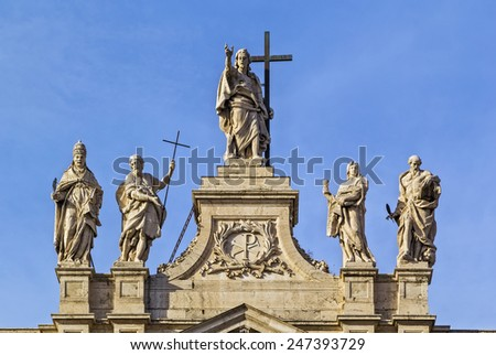 The Papal Archbasilica of St. John Lateran is the cathedral church and the official ecclesiastical seat of the Bishop of Rome, who is the Pope. Facade of the basilica - stock photo