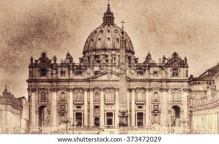 The Papal Basilica of Saint Peter in the Vatican (Basilica Papale di San Pietro in Vaticano). Retro toned. - stock photo