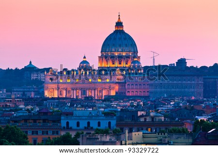 The Papal Basilica of Saint Peter in the Vatican City - stock photo