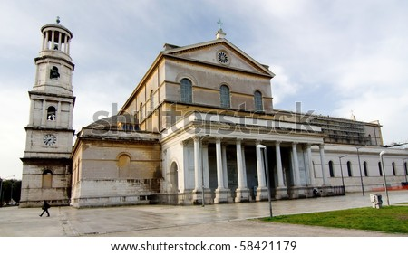 The Papal Basilica of St Paul Outside the Walls - stock photo