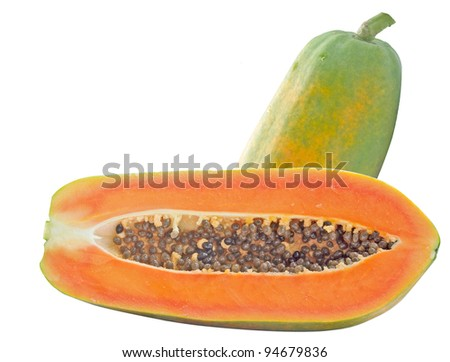 The papaya is a food on white background.