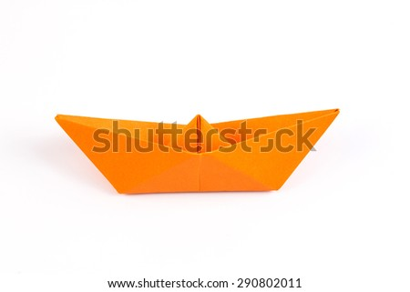 the paper Boat on white background