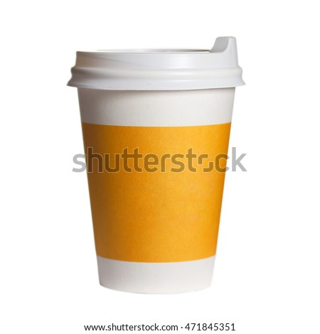 the paper cup of coffee on a white background