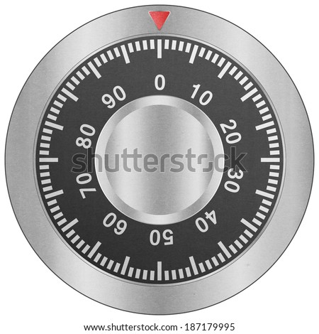 the paper cut of safe combination lock is metal dial for security protection - stock photo