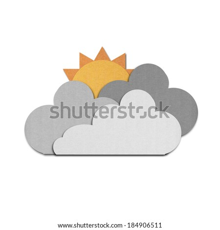 the paper cut of sun and rain clouds on white sky - stock photo