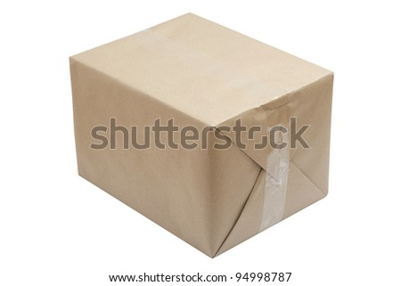 The paper package isolated on white - stock photo