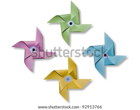 The Paper pinwheel isolated on blue background