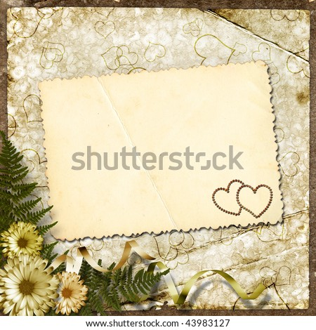 The paper vintage background with hearts and flowers. - stock photo