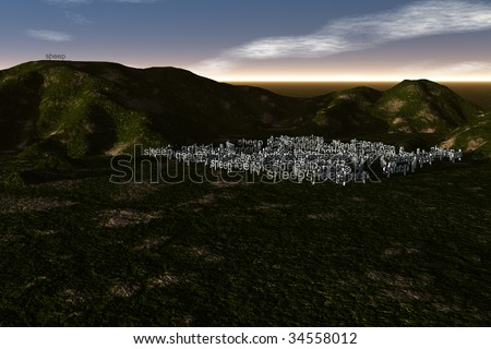 The parable of ninety and nine sheep with one gone astray - stock photo