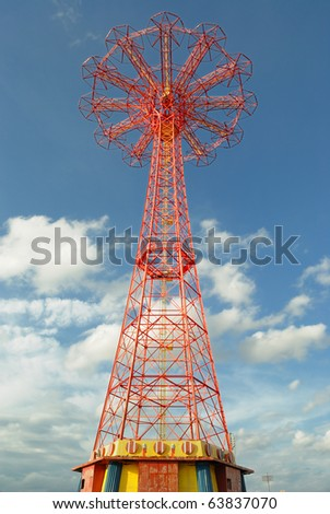 The Parachute Jump, a landmark of Coney Island New York City. - stock photo