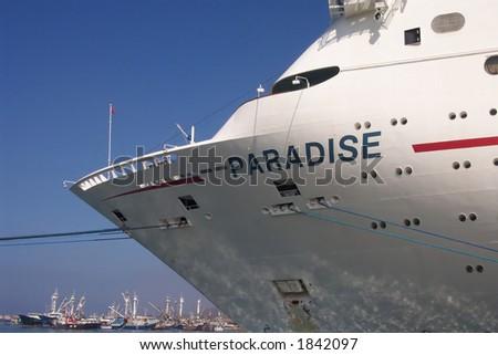 The Paradise Carnival Cruise Ship in Ensenada, Mexico - stock photo