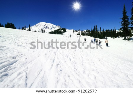 The Paradise point of Mt Rainer in winter - stock photo