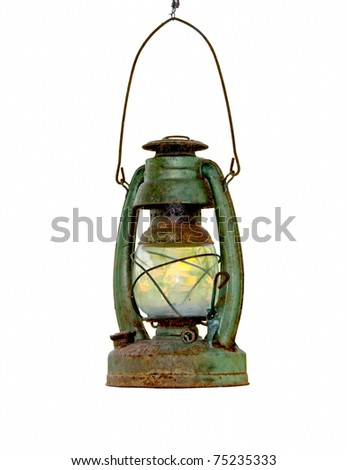 The Paraffin lamp isolated on white background - stock photo