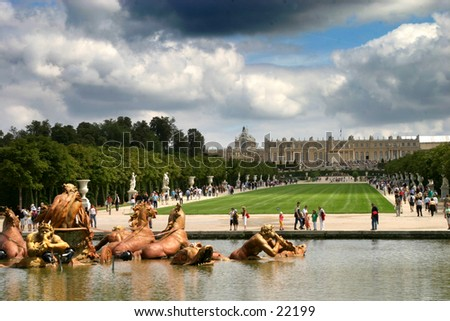 the parc of Versailles and castle - stock photo