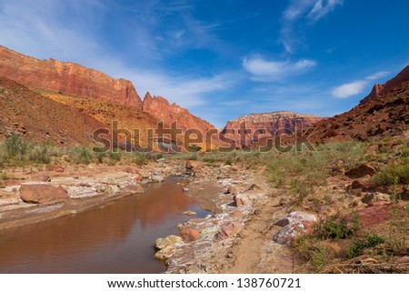 The Paria Canyon is a 38 mile long canyon located in AZ and UT.  Thousands of stream crossings are encountered on the multi-day backpack down this spectacular canyon, ending in Lee's Ferry, AZ. - stock photo