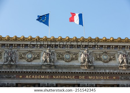 The Paris Opera or Garnier Palace.France.  Opera House placed in Place de L'Opera. Designed by Charles Garnier in 1875. Neo Baroque Style. - stock photo