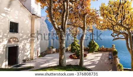 The park of Villa Balbianello in Lenno, Lake Como, Italy - stock photo