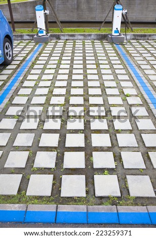 the parking space of power supply for Charging electric cars - stock photo