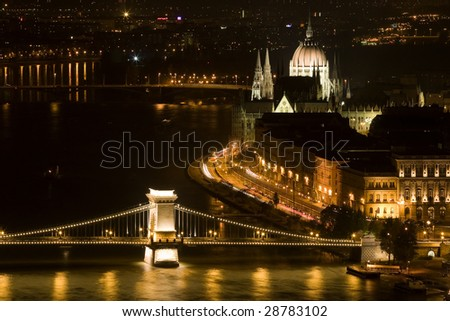 The Parliament and the Chain Bridge, Budapest - at night - stock photo