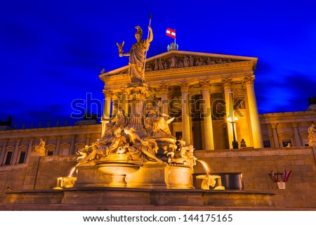 The Parliament Building in Vienna, Austria - stock photo