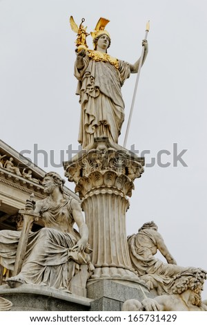 "The Parliament in Vienna, Austria with the statue of ""Pallas Athena"" of the Greek Goddess of wisdom."