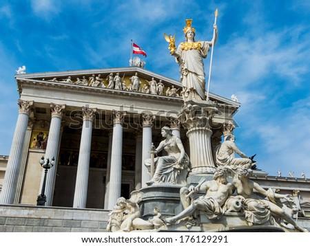 "... statue of ""pallas athene"" the greek goddess of wisdom. - stock photo"