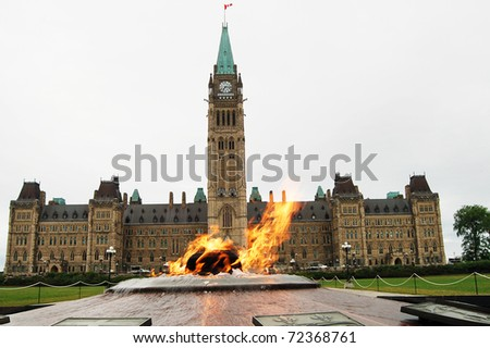 The Parliament of Canada and heroes flame - stock photo