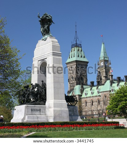 The Parliament of Canada, Heroes Monument - stock photo