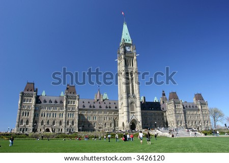 The Parliament of Canada in spring, Tulips Festival - stock photo