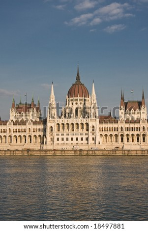 The Parliament Palace in Budapest, Hungary - stock photo