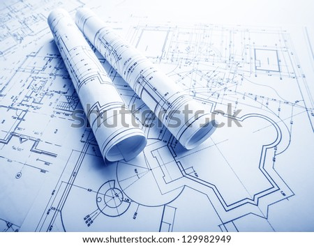 The part of architectural project - stock photo