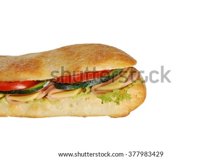 The part of big sandwich on a white background