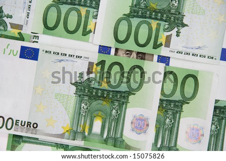 The part of hundred dollars (franklin) is visible from under euro - stock photo