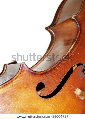 The part of old violoncello body - stock photo