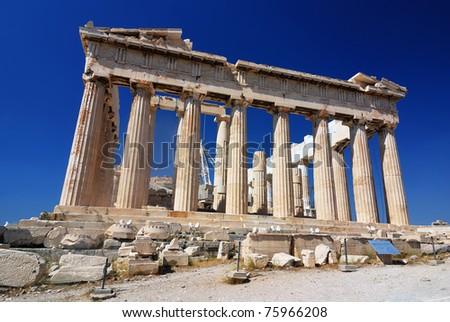The Parthenon, a temple in the Athenian Acropolis, Greece, dedicated to the Greek goddess Athena - stock photo
