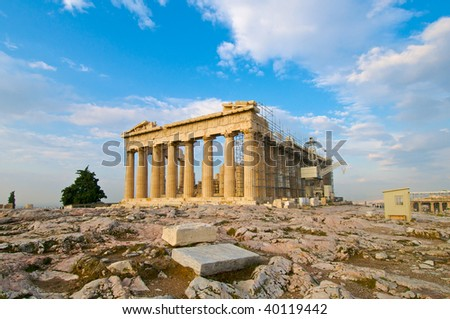 The Parthenon Athens with restoration work in progress - stock photo