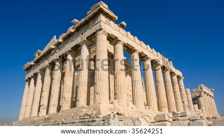 The Parthenon, in Athens Akropolis, Greece - stock photo
