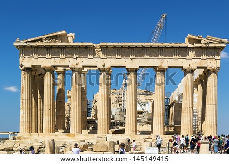 The Parthenon is a temple on the Athenian Acropolis, Greece