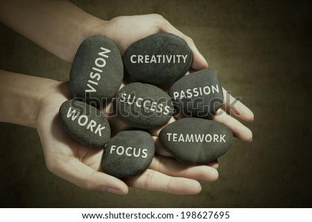 The parts to success written on the rock - stock photo