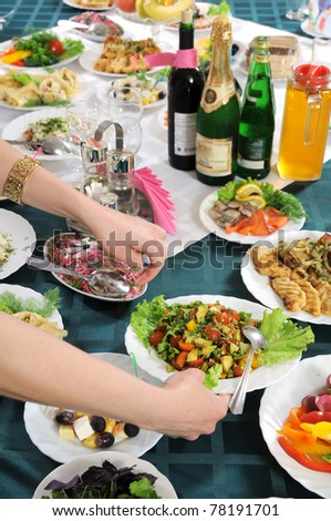 The party - on a table a lot of various meal is necessary. - stock photo