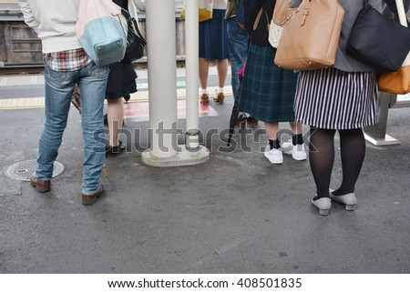The passenger in line to rail in Japan