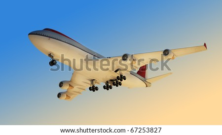 The passenger plane - stock photo